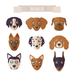 Dog faces set in flat style vector