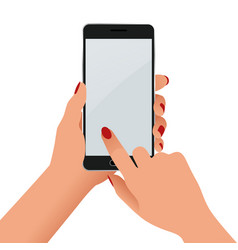 female hand holding a phone with blank screen vector image