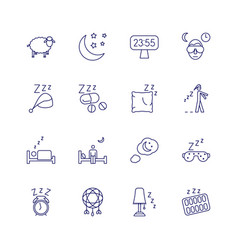 Insomnia problems icons and sleeping trouble vector