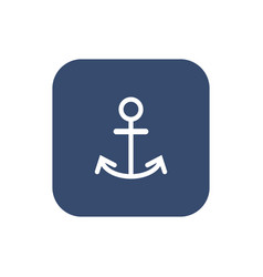 Anchor icon flat white pictogram on dark vector