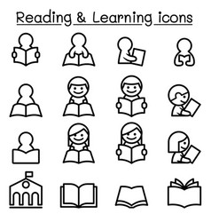 Reading learning studying icon set in thin line vector