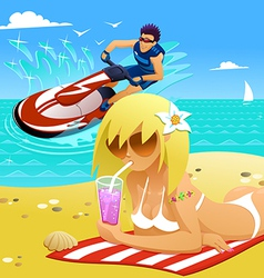 Relaxing on the beach vector