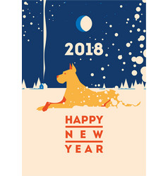 2018 happy new year of the dog greeting card vector