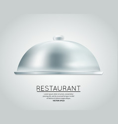 Restaurant cloche food tray vector