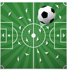 Football ball on green playground background vector