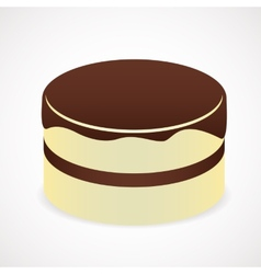 Cake with chocolate icing vector