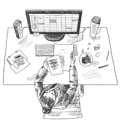 Accountant work place vector