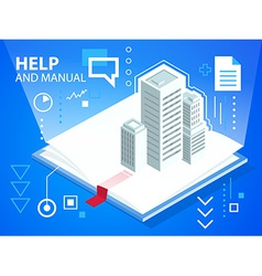 Bright manual book and buildings on blue bac vector