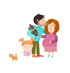 Happy parents with pregnant belly vector