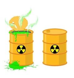 Barrel of acid open drums with dangerous gr vector image