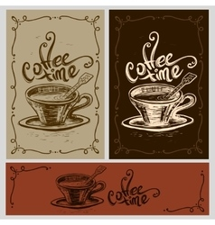 Coffee time cup vector