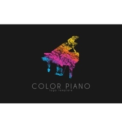 Color piano logo rainbow music logo creative vector