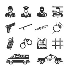 Icons police and thieves vector