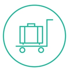 Luggage on trolley line icon vector