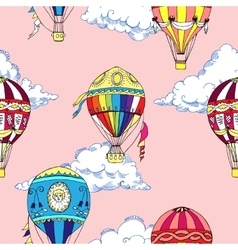 Seamless pattern with clouds and hot air ballons vector image