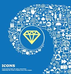 Diamond sign icon nice set of beautiful icons vector