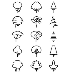 Line art icons set with trees vector