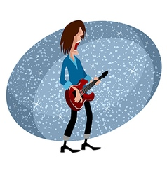 Rock star with guitar for musical design vector