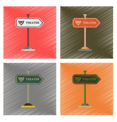 Assembly flat shading style icons theater sign vector
