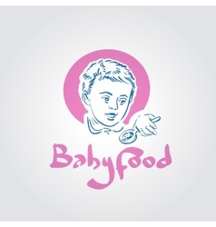Baby food logo design template toddler vector