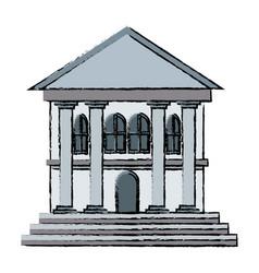 Bank building facade exterior column business vector