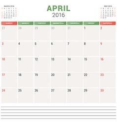 Calendar Planner 2016 Flat Design Template April vector image
