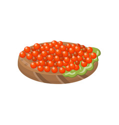 Canape with salmon red caviar cartoon vector