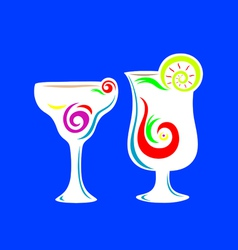 Cocktail summer party glass vector
