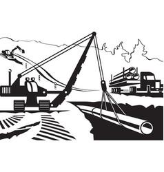 construction of pipeline through mountain vector image vector image