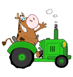 Cow farmer waving and driving a green tractor vector