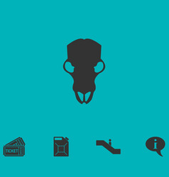 Cow skull icon flat vector
