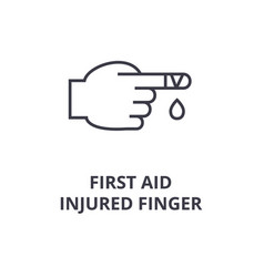 first aid injured finger line icon outline sign vector image vector image