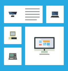 Flat icon computer set of technology notebook vector