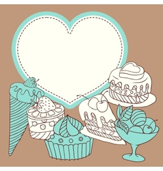 frame with sweet little cupcakes vector image vector image