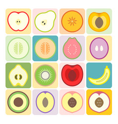 fruits and vegetables icons set 1 vector image