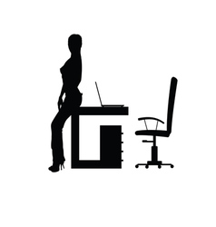 Girl in office silhouette vector