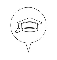 Graduation cap line icon education vector