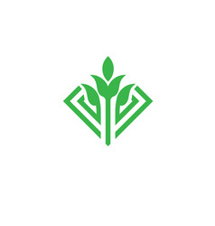 Green leaf and sprout logo concept vector