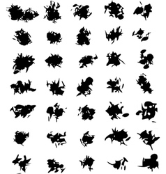 Grunge mixed shape black silhouette on white vector