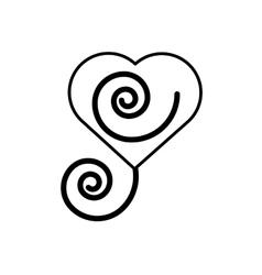 Heart romantic ornament outline vector