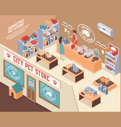 Isometric pet shop composition vector