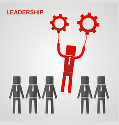 Leadership concept - leader flies to the gears vector