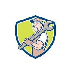 Mechanic Smiling Spanner Standing Crest Cartoon vector image vector image