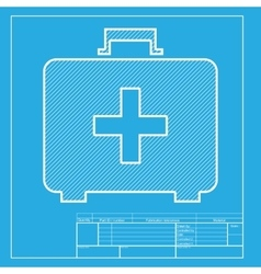 Medical first aid box sign white section of icon vector