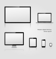 modern technology digital devices with blank vector image vector image
