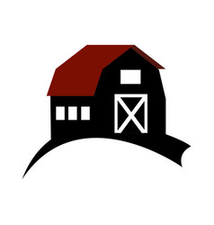 monochrome silhouette with barn of two floors vector image