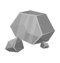 Purple rough gemstone icon in monochrome style vector