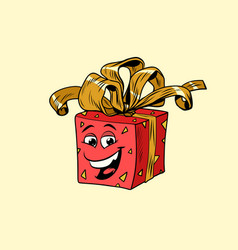 red gift box cute smiley face character vector image vector image