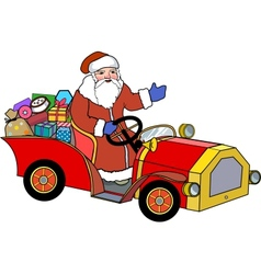 Santa Claus and retro car vector image vector image