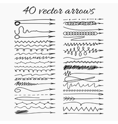 Set of 40 hand-drawn arrows Easy paste to any vector image vector image